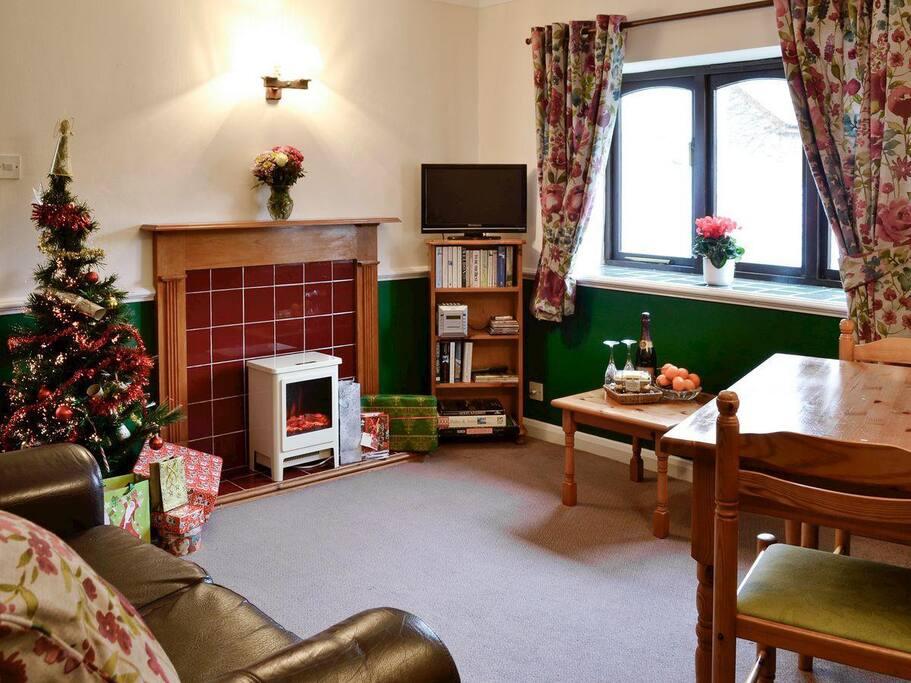 Primrose living/dining room at Christmas