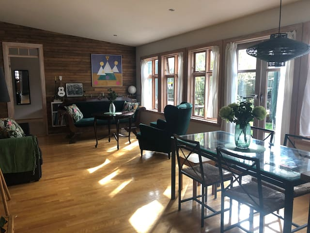 Living room/dining room with sofa bed.