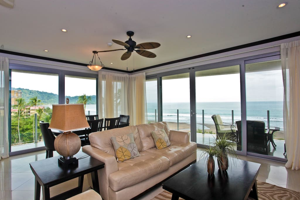 Main living area with ocean views
