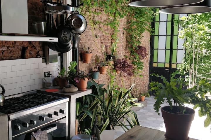 Una cocina con casa alrededor