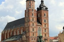 St. Mary's Basilica in Kraków Square only about an 8 min walk from the apartment