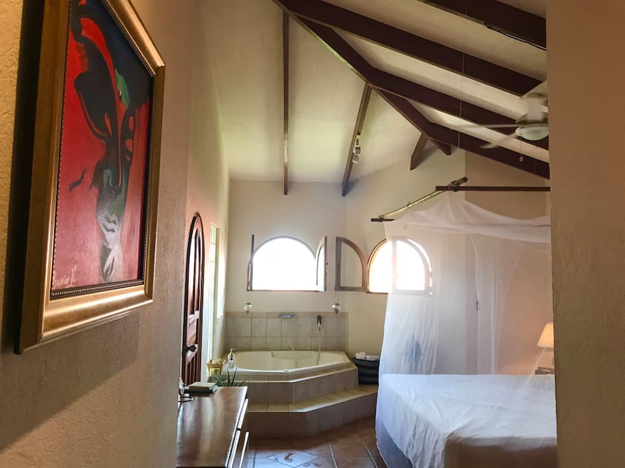 Master bedroom has high ceilings and a dreamy king-sized canopy bed.