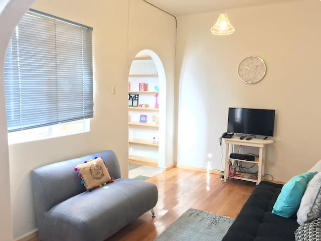 Living room with smart TV and full size sofa bed