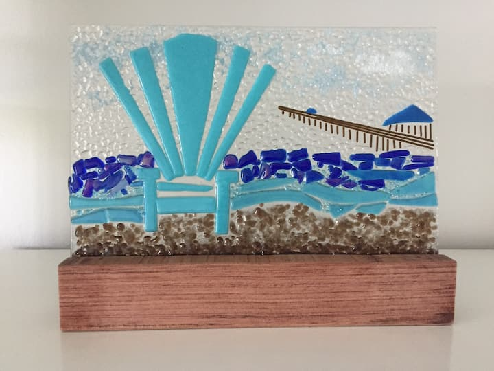Glass art inspired by the pier in LBTS