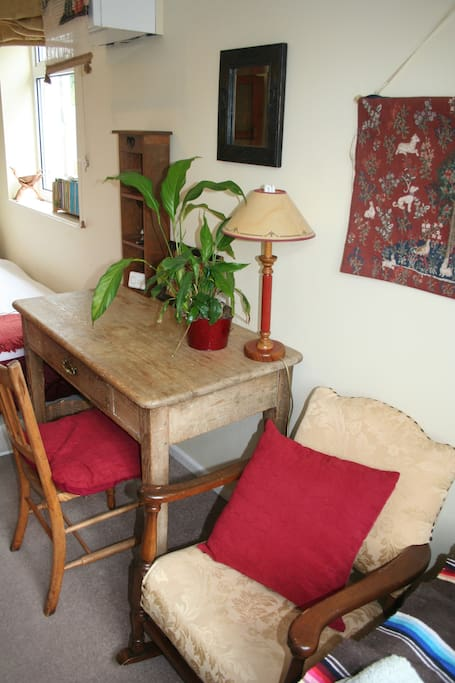 writing desk and chair, and small rocking chair