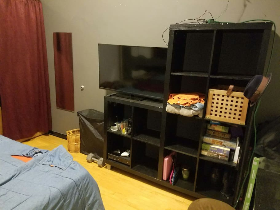 TV + plus random board games and tools you can use as long as you put them back :)