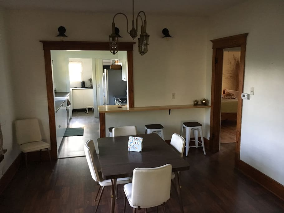 Dining room with breakfast bar/work Area with USB charging ports