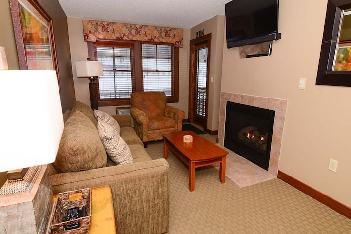 A208- One bedroom suite, standard view with a cozy fireplace!