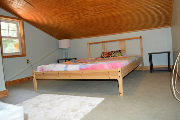 double bed in loft (Kids/ teens love ) Note not for littles but one who can climb ladder/steps