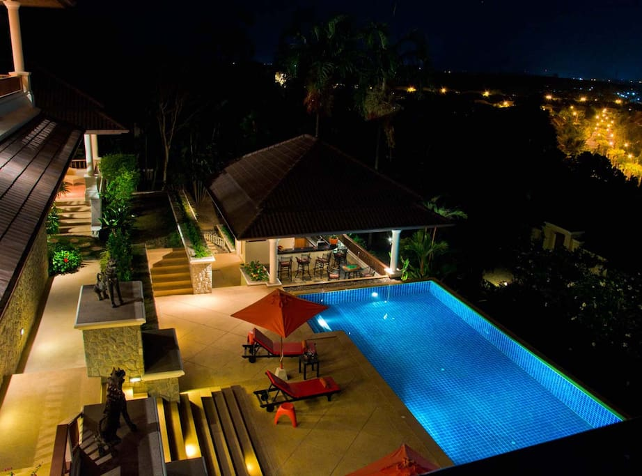View from top terrace over the pool