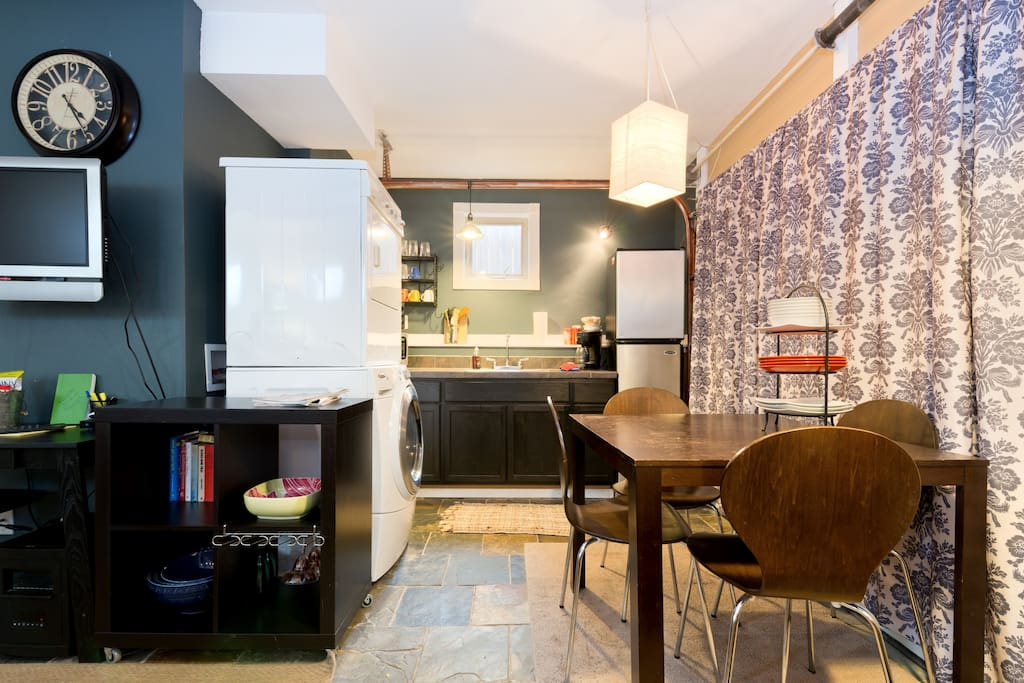 Enjoy dinner in your fully functional kitchen! Dining table with four chairs makes for relaxed meals away from home!