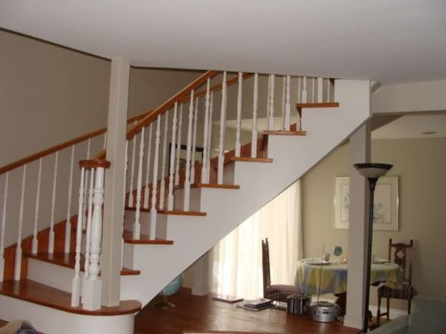 Beautiful open wooden staircase