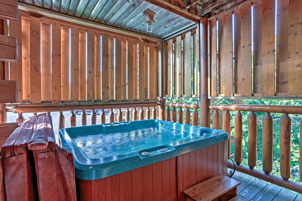 You'll love coming home from your adventures and relaxing in the private hot tub.