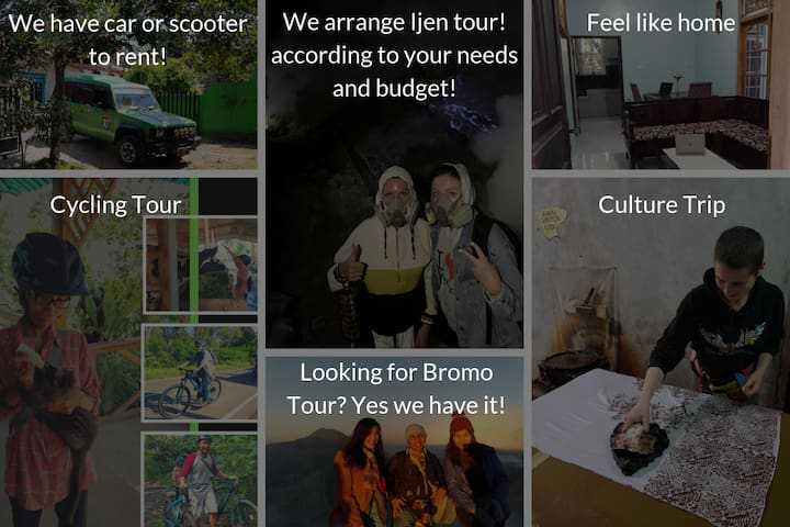 1. Bike to rent if you plan to go to Ijen by yourself 2. Sharing tours if you want to go to Ijen by car and don't mind sharing the tour with other people 3. Private tour if you plan to go to Ijen by car and want to have the entire tour just for you
