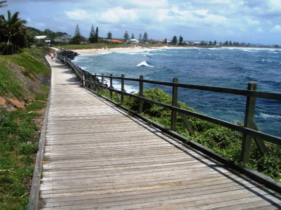 Boardwalk onto beach, 2 minute stroll