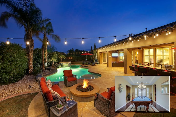 Oasis: Pool, Spa, Pool Table, Fire Pit, Patio TV