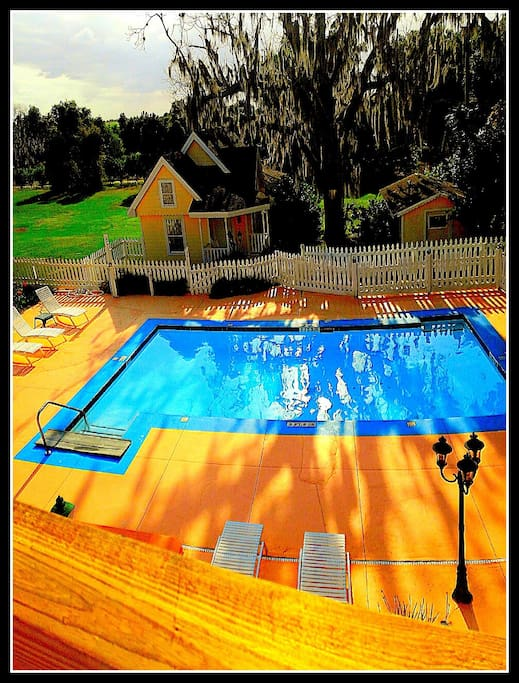 Solar heated swimming pool with large deck area, three large tables and infra-red grill.