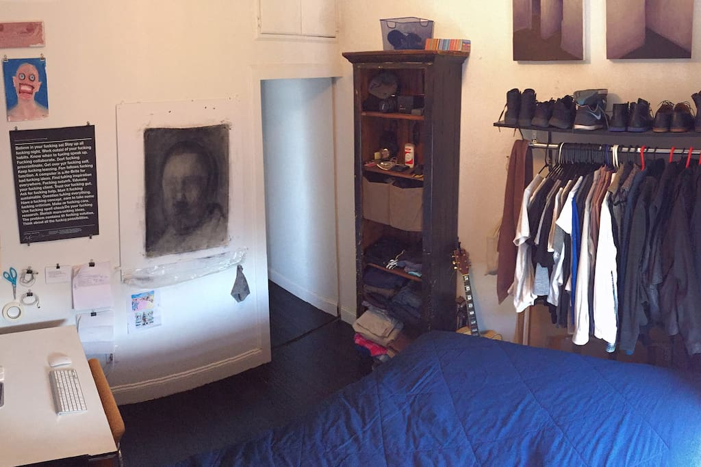 Bedroom panorama (clothes will be packed!)