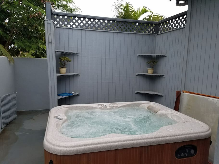 Hot tub for your relaxation, shower first before getting in.