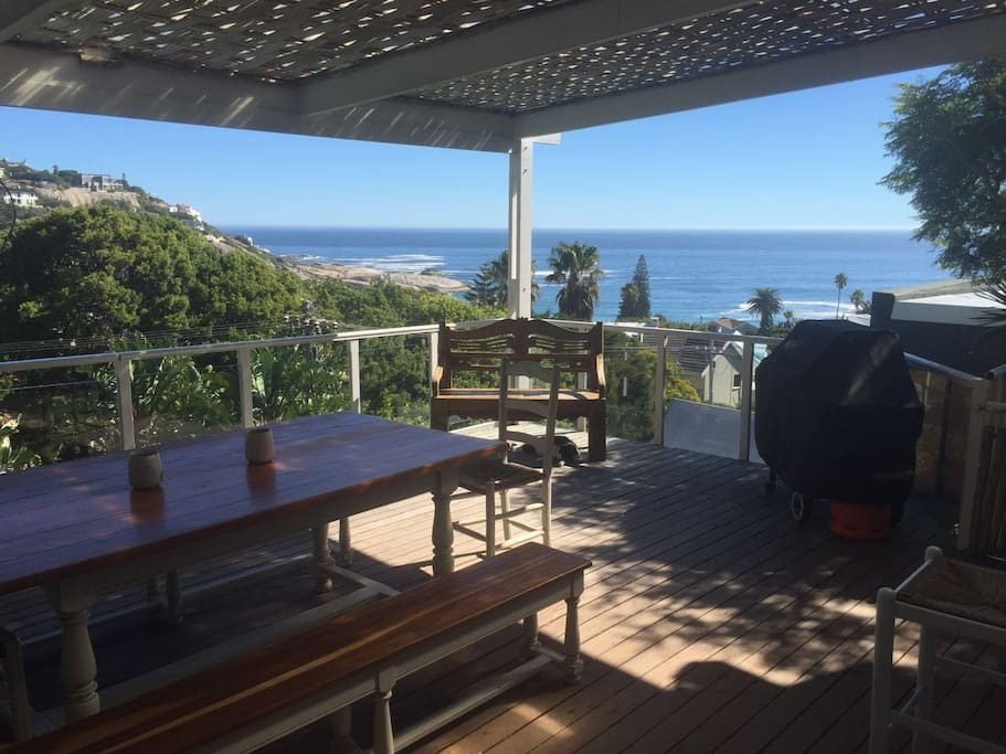 Upstairs deck with BBQ , dining and amazing views