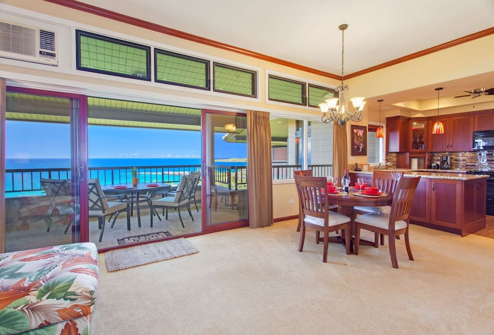 The villa features fabulous ocean views from the living room, kitchen and lanai.
