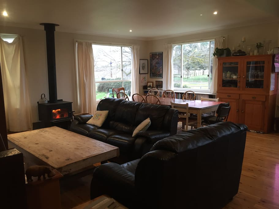 Main family living area with fireplace
