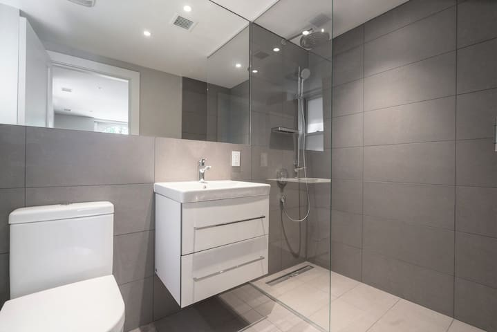 Private Bathroom with Rainfall Shower and Handheld Showerhead - can use both at once for a spa-like experience or just one at a time!