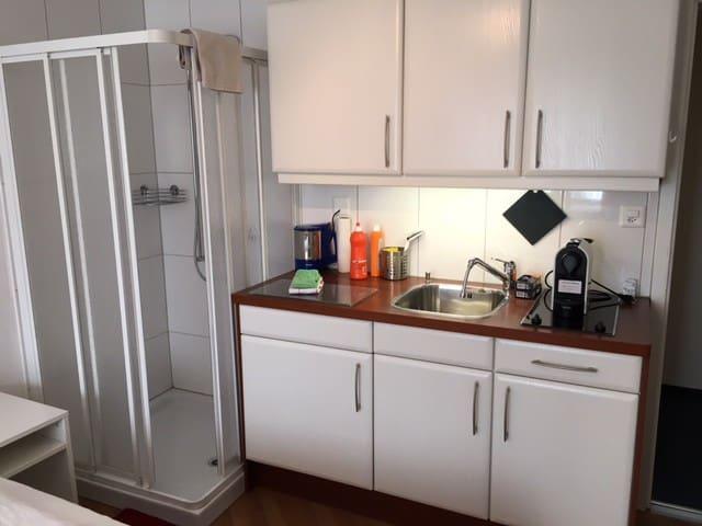 Kitchenette mit Kaffeemaschine, Dusche links