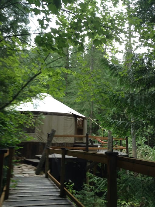 The yurt and large deck.