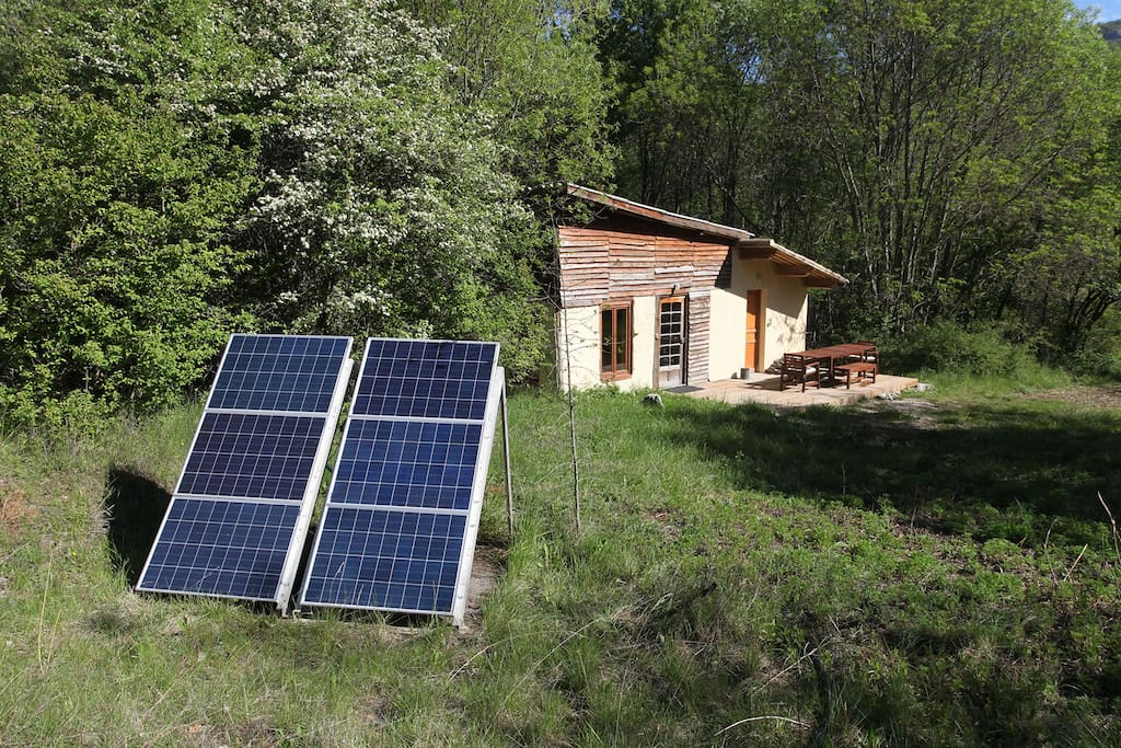 Electricity is generated by solar panels.