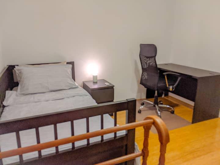 Minimalist private bedroom.