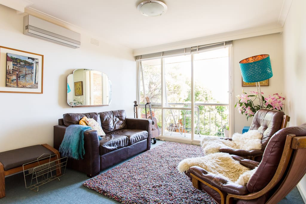 Sunny and comfortable lounge with views all the way to the Dandenongs