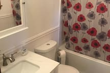 The new Sunset Cottage bathroom rehab/upgrade, now with tub/shower and new fixtures.  On demand hot water can meet guests needs better.