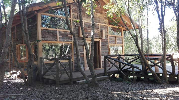 Wonderful rustic cabin, with native trees, with Rio Trancura, equipped