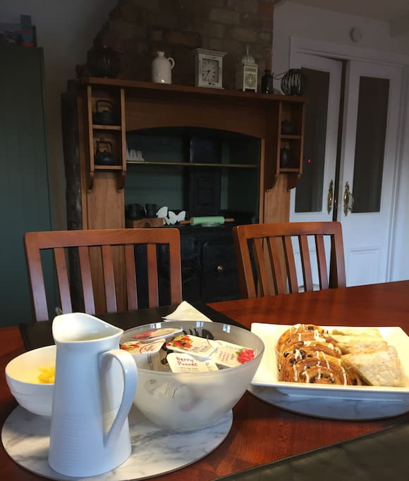 Continental breakfast is served in our spacious dining room