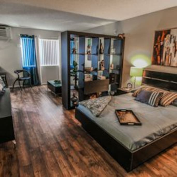 Room includes 50 inch flat screen on a rotating TV mount, full cable including HBO.