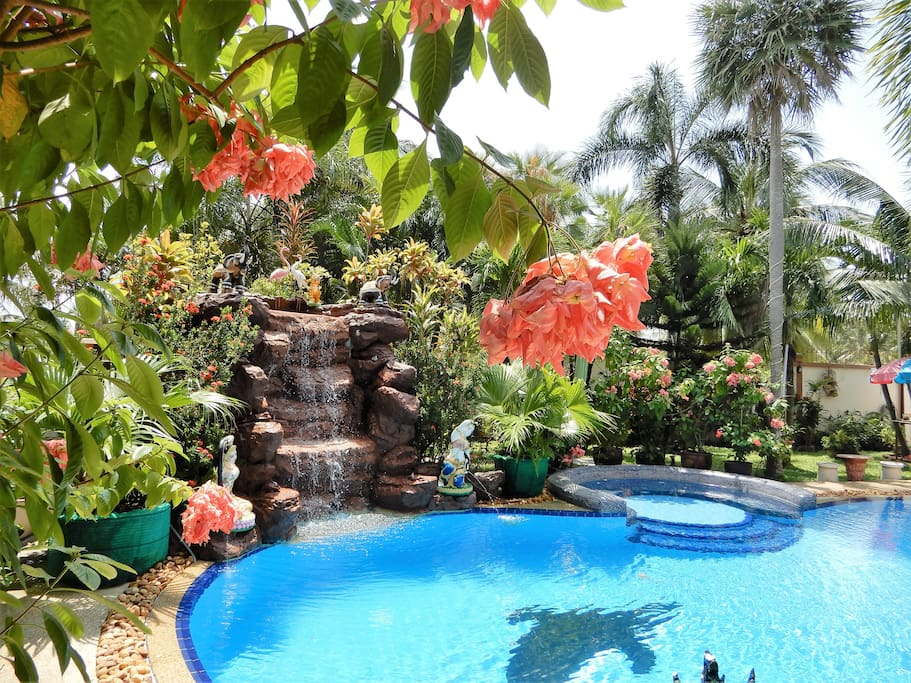 Stunning Tropical garden with a  large swimming pool