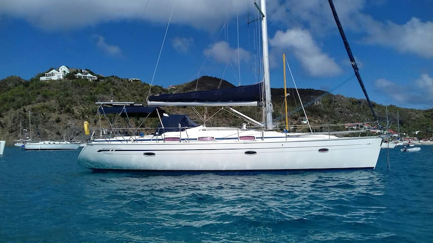 Saint Martin. Cabin on boat on anchor