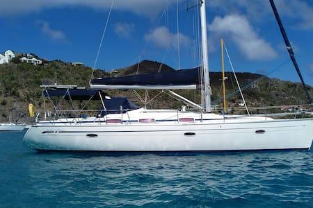 Gustavia. Cabin in yacht on anchor