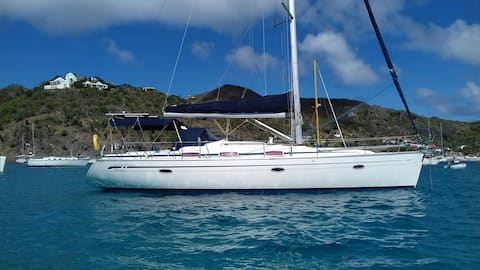 Gustavia. Cabin in yacht on anchor