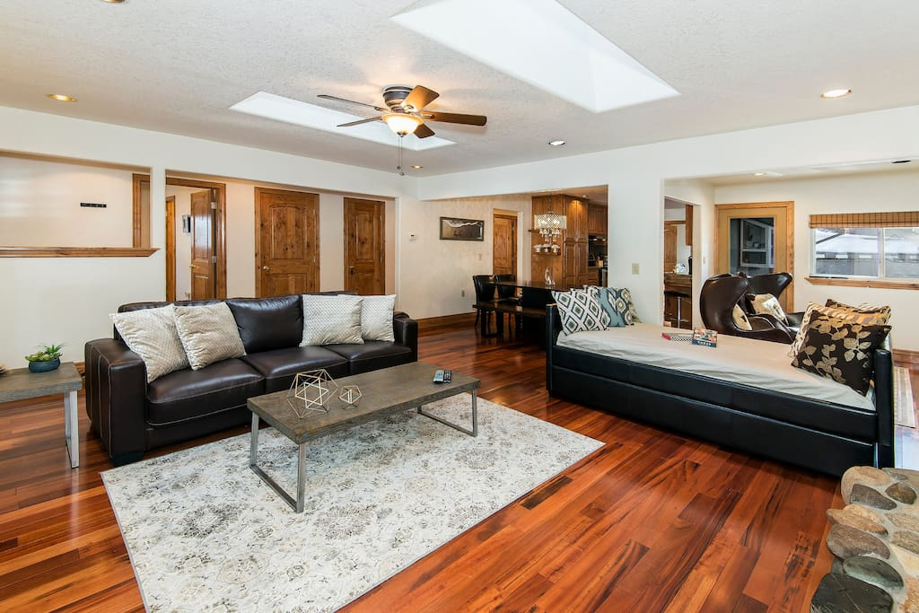 Comfortable living room with large HD TV