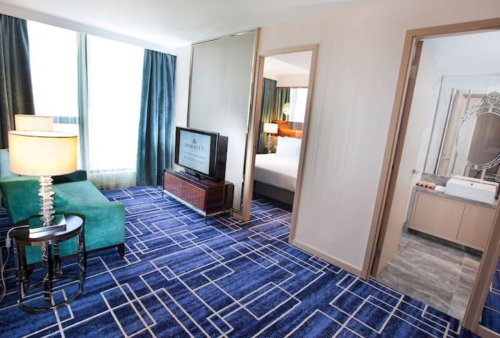 1房套房-雙人大床, 提供免費WIFI及IDD, 設室外游泳池及健身房