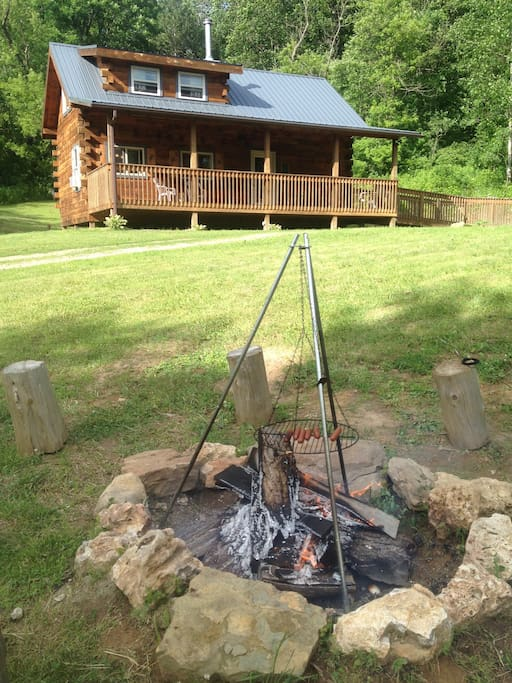 Cooking outside in the fire pit