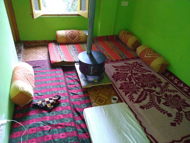 (Jibhi Backpackers room) feel nature of himalayas.