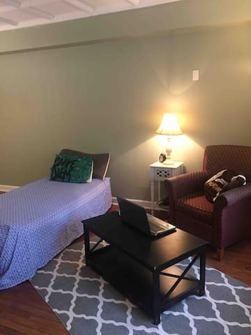 Comfy Air-mattress to crash on and great location!