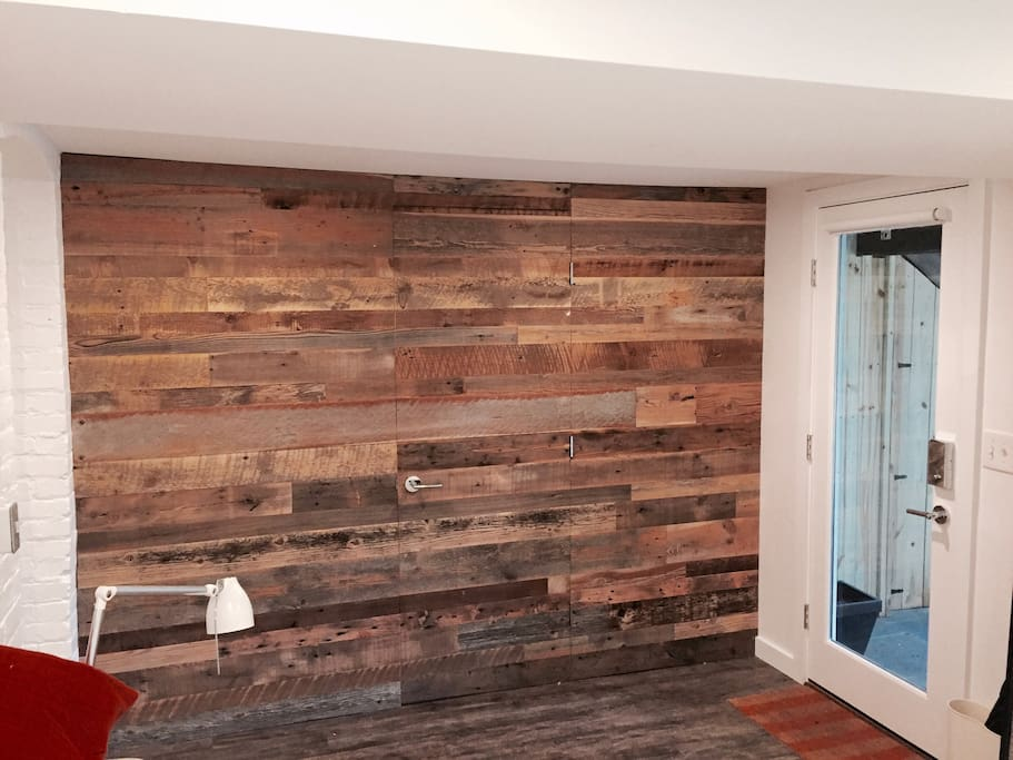 Reclaimed wood wall in bedroom