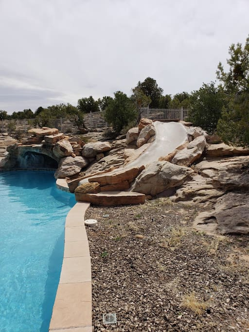 Pool slide and cave.
