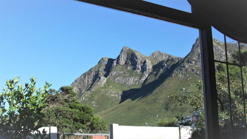Mountain and garden view from dining area