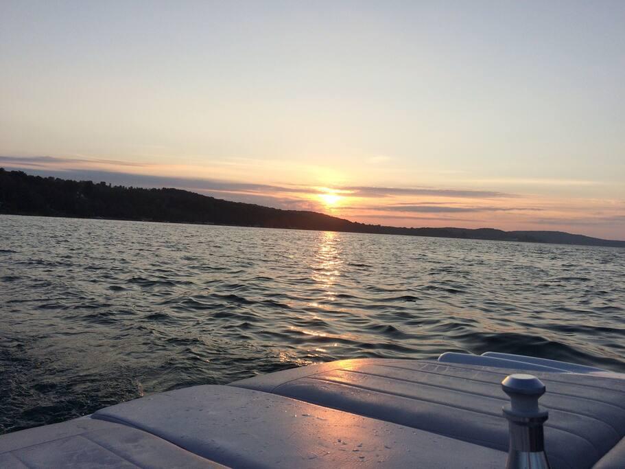 Beautiful Lake Charlevoix two blocks away