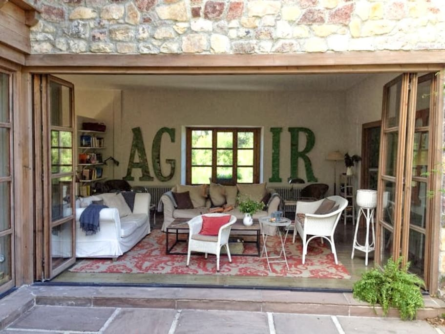 The living room with its beautiful veranda